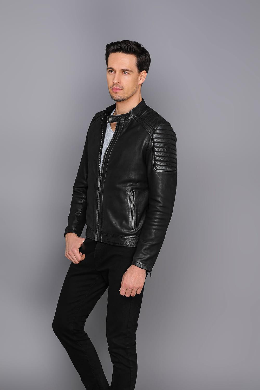 schwarze Motorradjacke aus echtem Leder
