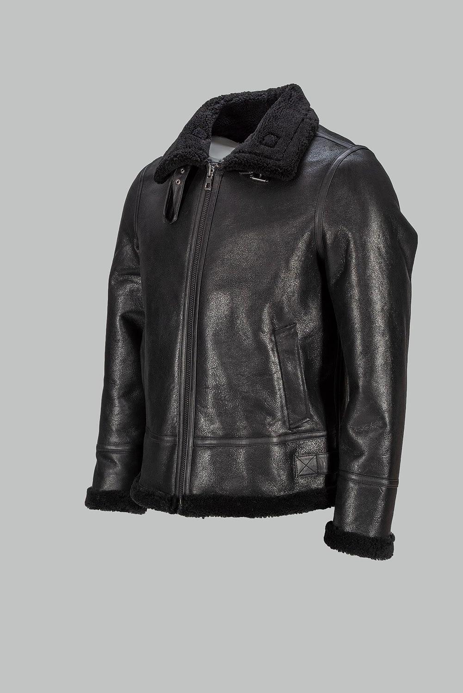 schwarze B3 Fluglederjacke mit Lammfell für Herren