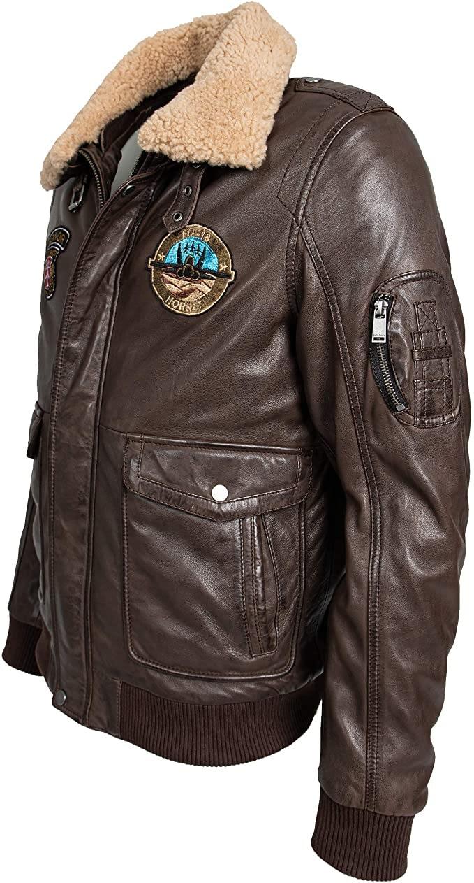 braune Airforce Lederjacke für Männer