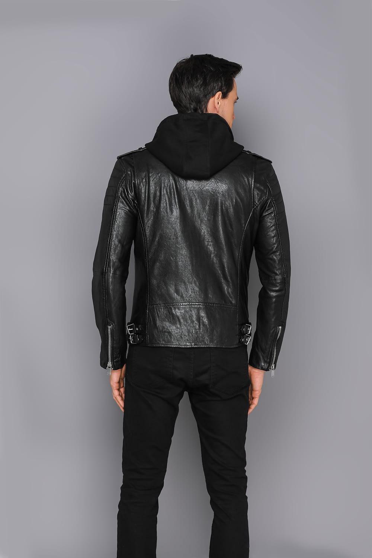 echte schwarze Bikerjacke aus Leder mit Kapuze