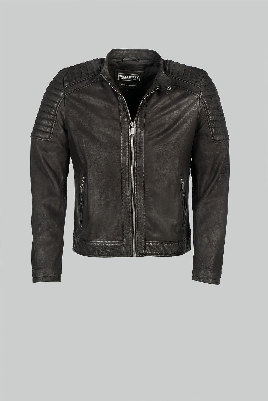echtem Leder schwarze Motorradjacke