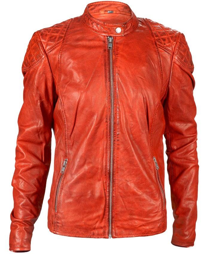 Flammenrot Café Racer Lederjacke für Damen