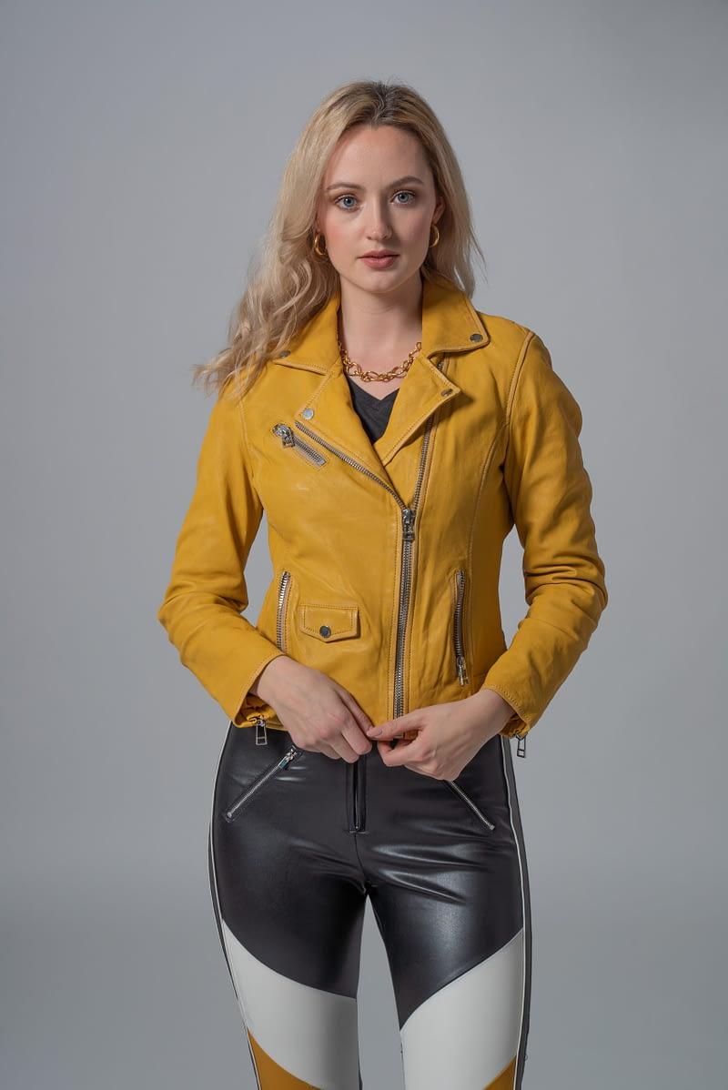 gelb Damen Bikerjacke