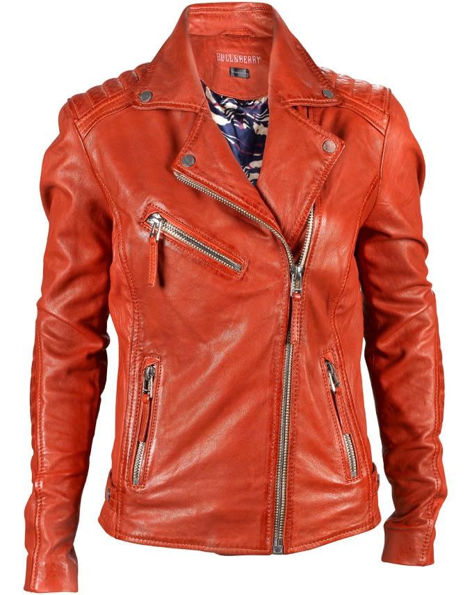 rote Bikerjacke aus echtem Leder für Damen