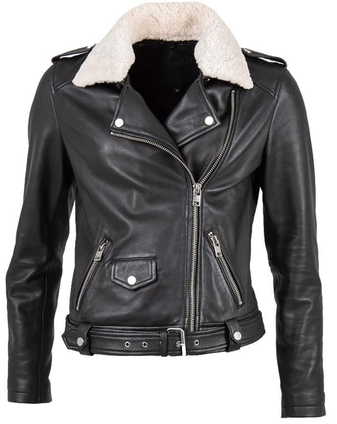 schwarze Bikerjacke für Damen mit abnehmbarem Echtpelzkragen